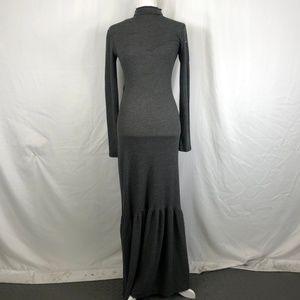 American Twist Grey Cross Knit Long Sleeve Dress